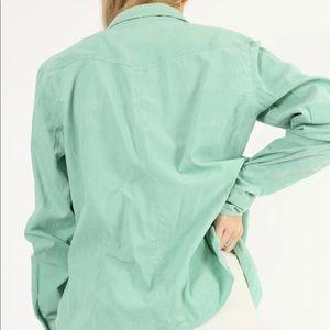 AEO Corduroy/Velvet Mint Green Button Down